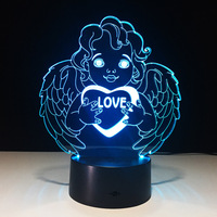 Creative Gifts Of Led Light Love 3d Lamp Acrylic Angel Valentine S Day Mini Led Lights