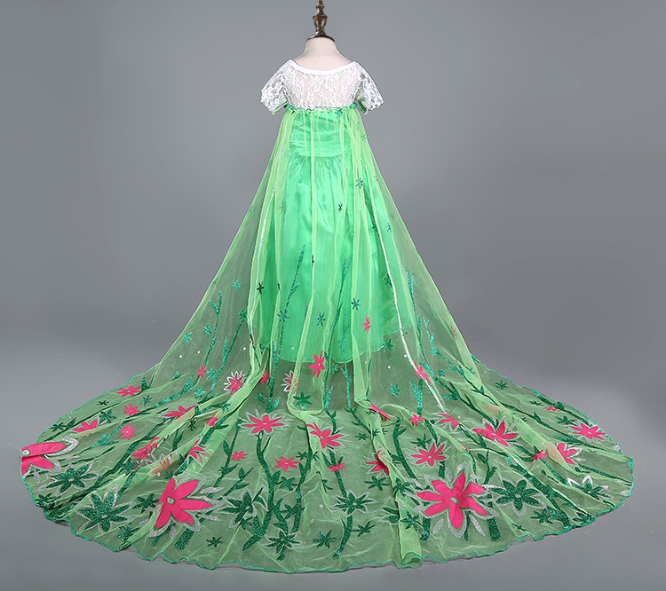 2016-summer-green-elsa-costumes-Girls-Cosplay-party-Dresses-Princess-anna-dress-vestidos-de-festa-meninas-for-children-1
