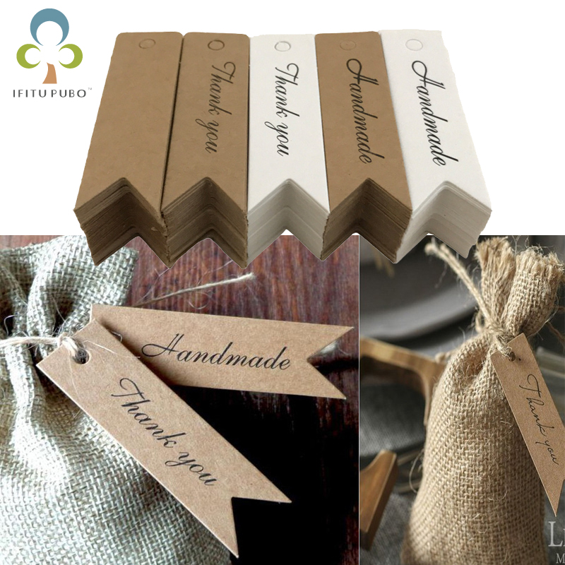 100Pcs Handmade with Love Labels Hang Tags Blank Kraft Paper with 20m Stri 2-WO