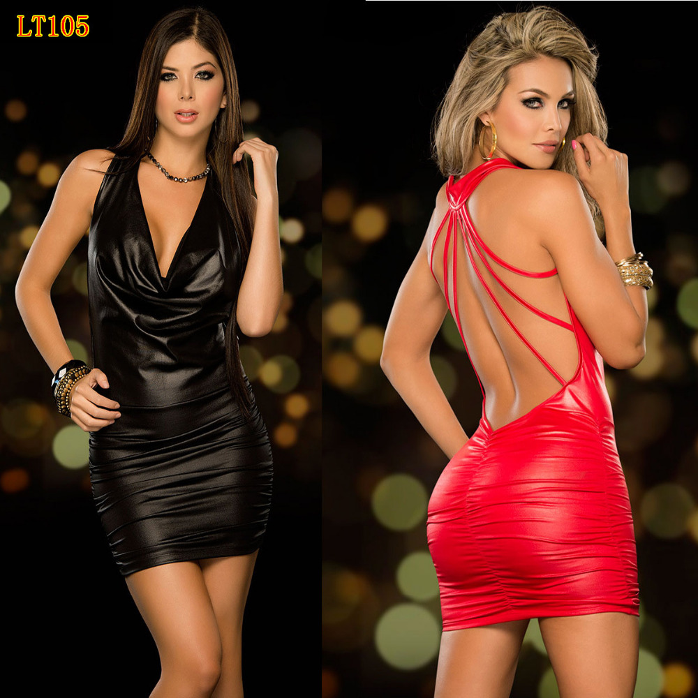 High Quality women nightclub dress sexy imitation leather metal cool tight black red suspenders club dress clothes NC130