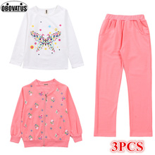 2019 Girls Cotton 3pcs Children Clothing Set Teenage Clothes Butterfly Print Casaul Coat+Pants+Tshirt Sports Suit