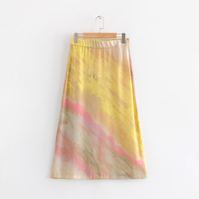 2019 summer womens skirt high street Europe and the United States under Korean fashion rainbow print A word