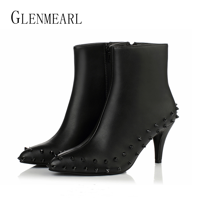 Genuine Leather Women Boots Shoes Winter Ankle Boots Plus Size Rivet Horse Hair Pointed Toe Zip