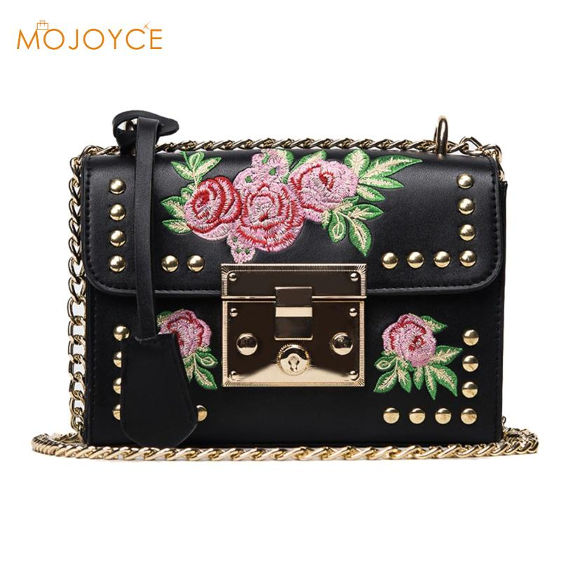 Women Embroidery Flower Flap Bags Fashion Flap Rivet PU Leather Messenger Bag 2018 Feminina Ladies Small Crossbody Shoulder Bags