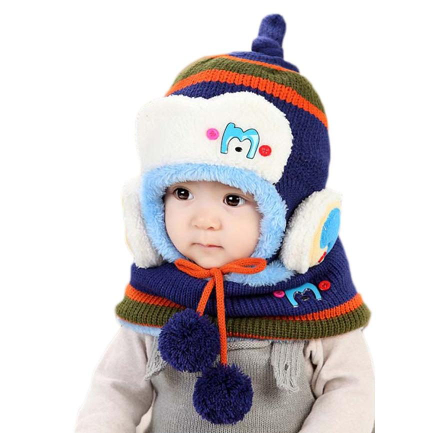 Baby Winter Hat and Scarf Set Very Warm Infant Beanie Cap for Kids Child Boys Girls Crochet Velvet Shawl