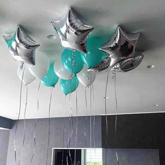 13pcs Lot Silver Star Foil Balloons Tiffany Blue Latex Globos Wedding Happy Birthday Party Decorations