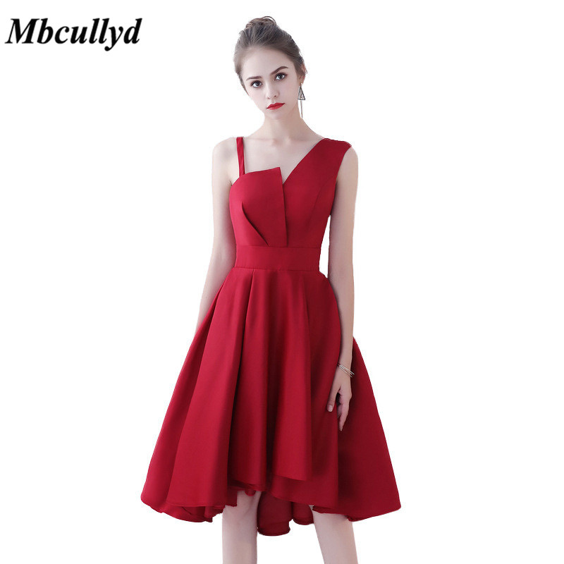 Detail Feedback Questions about Mbcullyd Bridesmaid Dresses 2019 Sexy Knee  Length A Line Red Maid Of Honor Dress Party For Women Vestidos de fiesta Hot  Sale ... 4a448174cff4
