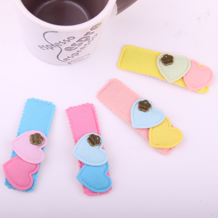 Hot Sale Hand Making Headwear For Kid Fabrics Pearl Butterfly Hair Pin Heart Charms BB Clips Gold PU Moon Type Barrttes For Girl