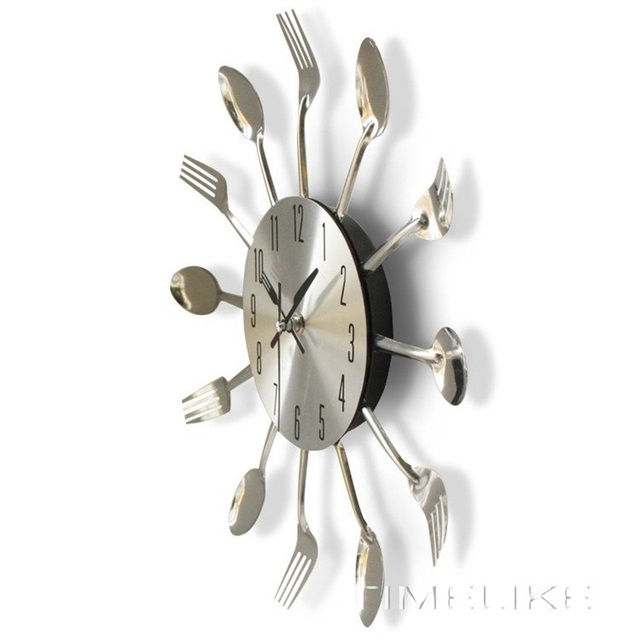 Cutlery Metal Kitchen Wall Clock Spoon Fork Creative Quartz Wall Mounted Clocks Modern Home Decor Modern Design Decorative