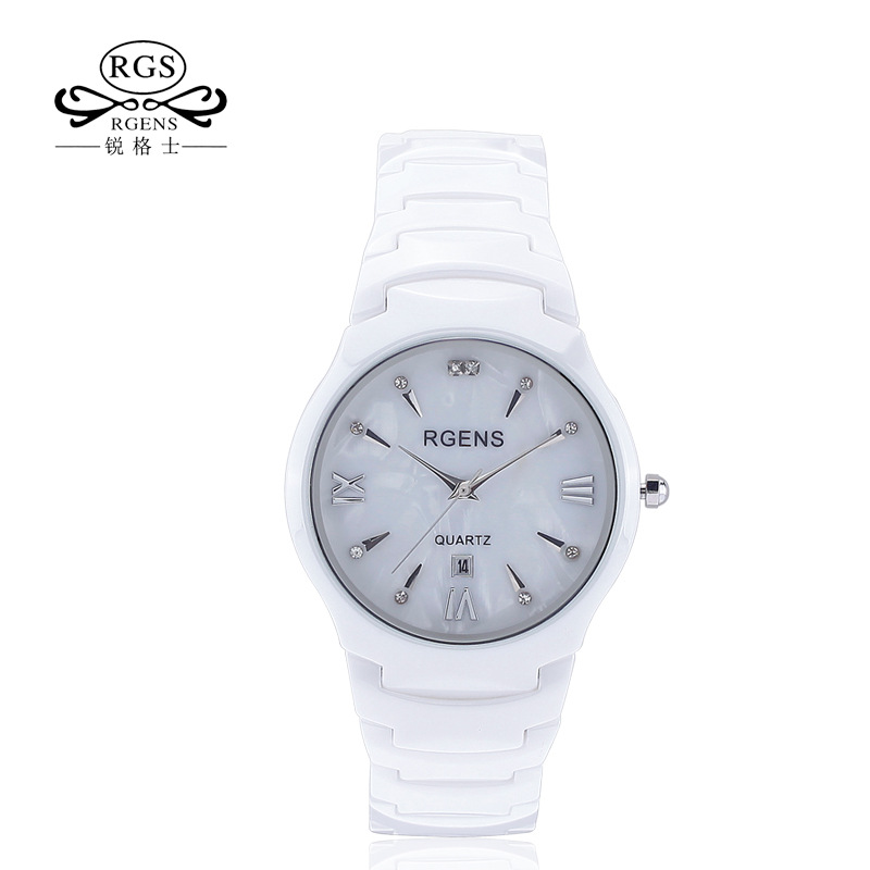 mens quartz wristwatches 100% ceramic white black waterproof man watches fashion diamond calendar male clocks Japan Movement
