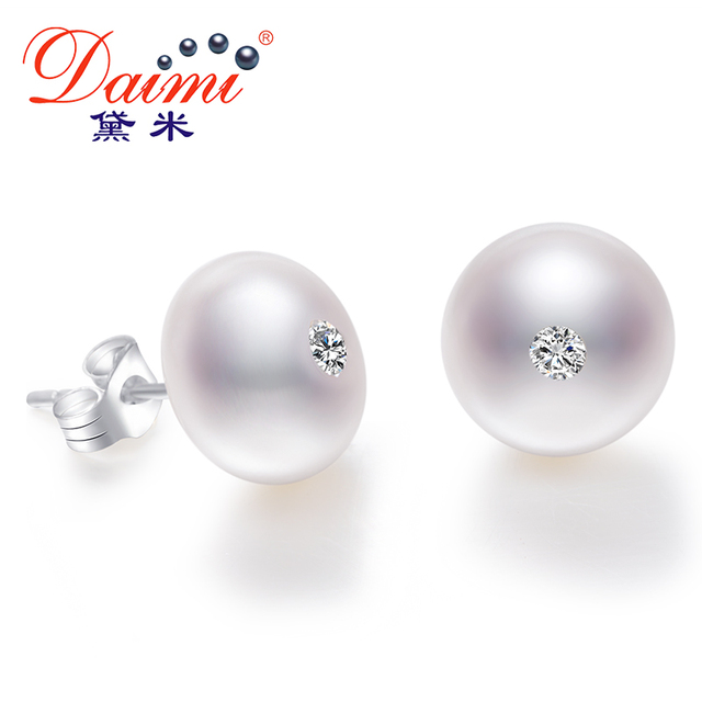 DAIMI 10-11mm Big Natural White Pearl Studs Earrings Shinny Crystal Earrings 925 Sterling Silver Earrings