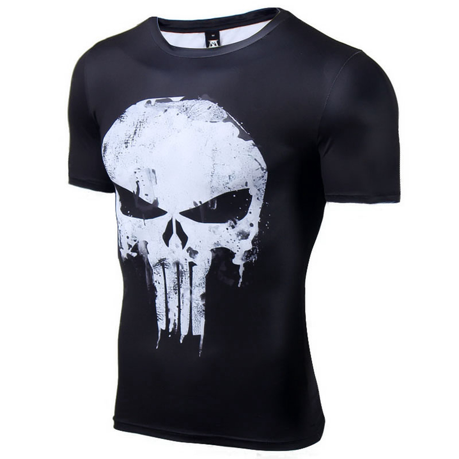 The punisher short sleeve compression t shirt comicstoy for Compressed promotional t shirts