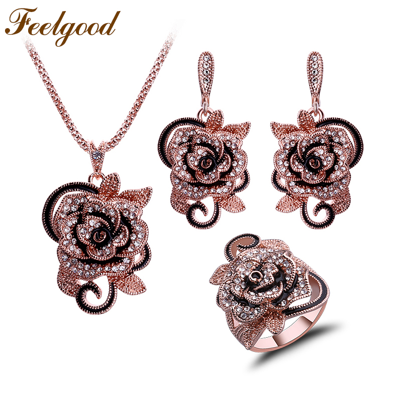 Feelgood Fashion Jewellery Set Crystal and Enamel Gold Color Flower Conjuntos de joyas para mujeres Moda Boda Regalo de fiesta de cumpleaños