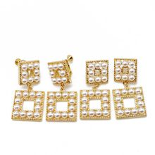 Free Shipping Square Alloy Cute Pearl Fashion Earring