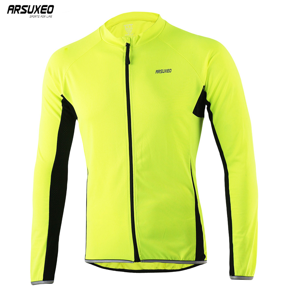 ARSUXEO Men's Cycling Jersey Long Sleeves Full Zipper MTB Bike Shirt Biking Bicycle jerseys Reflective Slim Fit Ultra-Soft 6022