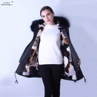 Linhaoshengyue 90 см модные женские парка пальто лиса меховая шапка воротник из меха норки linink пальто