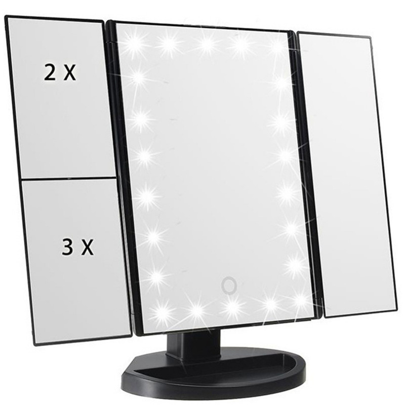 Trifold Table Makeup Mirror Personal 22 Beads Lamp Led Mirror Make Up Lipstick Folding Cosmetic Vanity Mirror with Lights