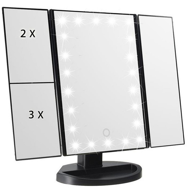 Trifold Table Makeup Mirror Personal 22 Beads Lamp Led Mirror Make Up  Lipstick Folding Cosmetic Vanity