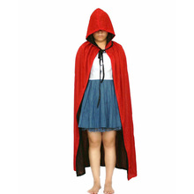 Women Men Death Vampire Cloak Cotume Halloween Costume For Adult Hooded Robe Cosplay Black+Red 2 Sides Wear Cosplay Robe