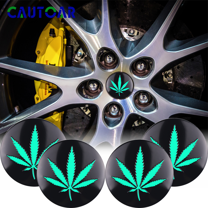 4Pcs Hemp Fimble Leaf Ho JDM Car Wheel Center Hub Caps Sticker 3D Green Emblem Badge For BMW KIA Lada Honda Tuning Car Styling