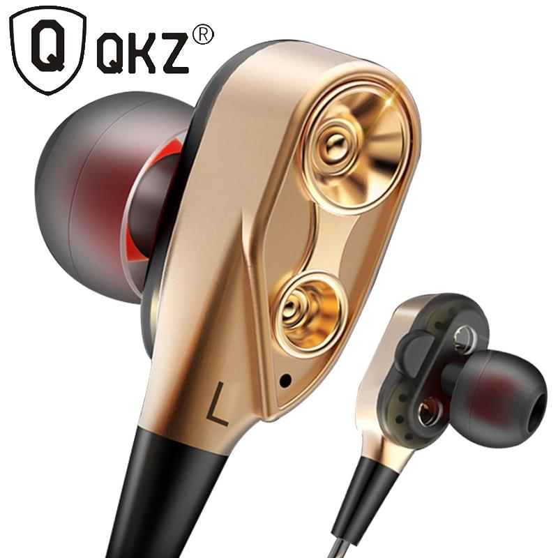 QKZ Double unité lecteur dans l'oreille écouteur basse Subwoofer écouteurs pour téléphone DJ mp3 Sport écouteurs casque écouteurs câble Flexible