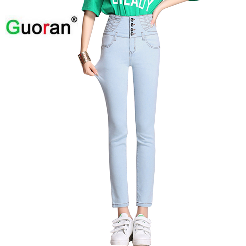 {Guoran} High stretch women jeans pencil pants with high waist skinny ladies fashion jeans leggings summer femme pantalon blue