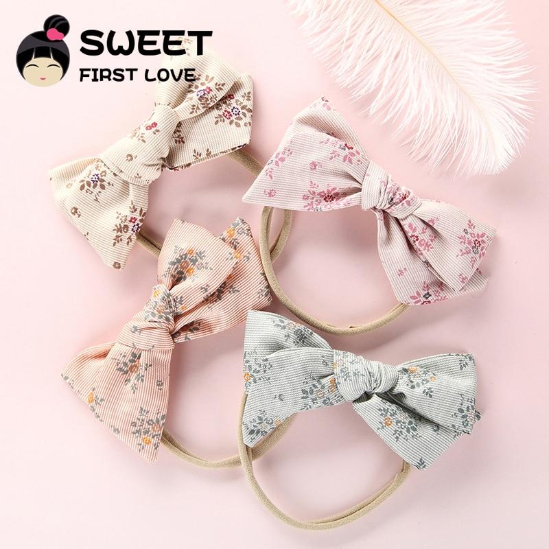 1PCS Print Flower Bow Hair Band Nylon Headband For Children Girls Kid Stretch headbands Cute Headwear Hair Accessories Head Wrap