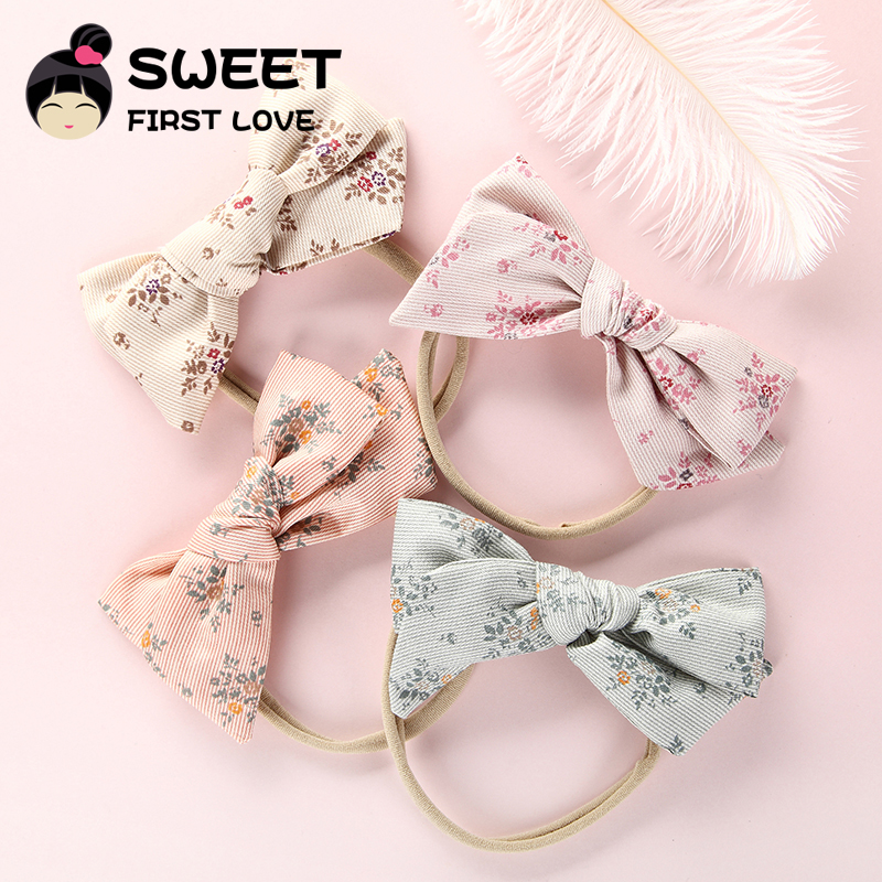 1PCS Print Flower Bow Hair Band Nylon Headband For Children Girls Kid Stretch headbands Cute   Headwear   Hair Accessories Head Wrap
