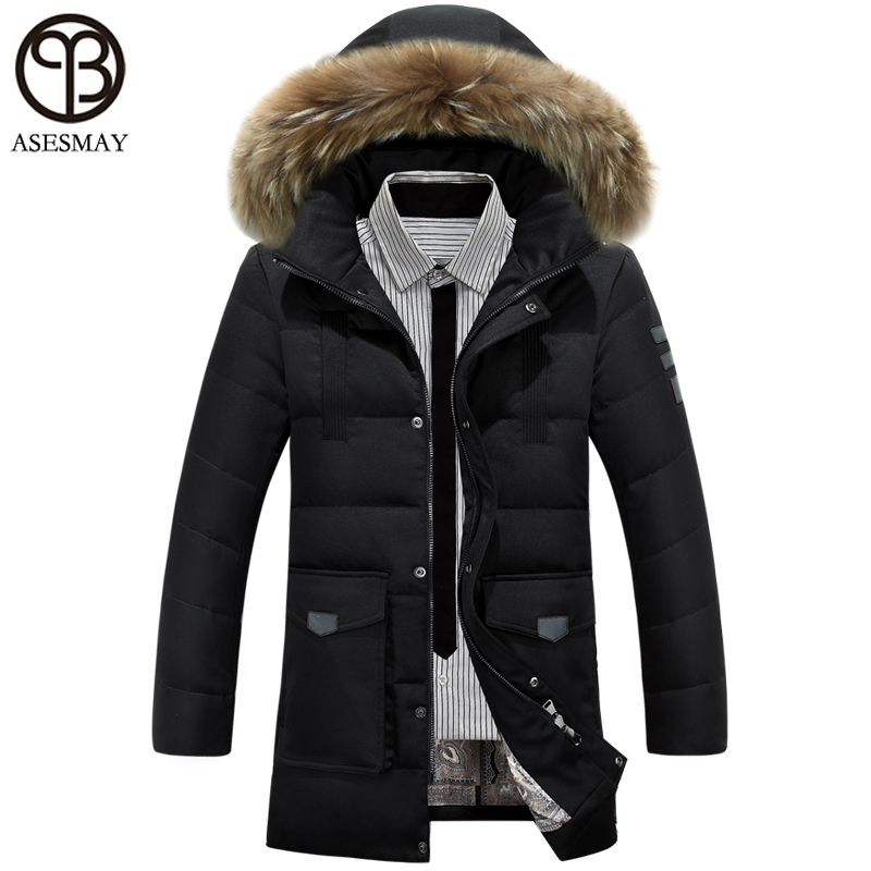 2017 Asesmay New Winter Down Jacket Men 90% white duck down coat Hooded Top quality brand clothing long male down parkas -20 C