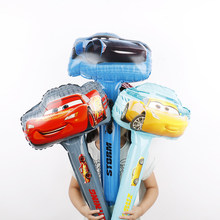 5pcs racing car hand stick foil balloons 3D cute car yellow red black party supplies birthday party decorations kids toys(China)