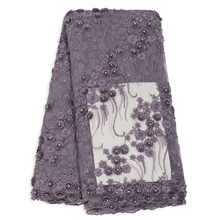 Bestway 3D Handmade Lace Applique Flower Beads & Stones French Tulle Fabric Embroidered Fabrics Mesh High Quality