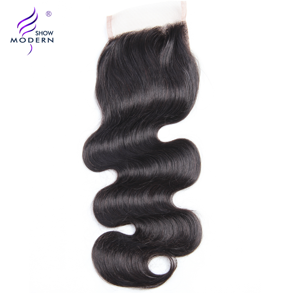 Modern Show Remy Hair 4x4 Body Wave Lace Closure With Baby Hair Free Part 130 Density