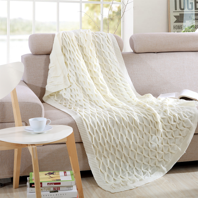 1 PCS 130*160CM Knit Blankets Acrylic Solid Color Embossed Pattern Knitted Leisure Blanket For Home Beds Portable Blankets V20