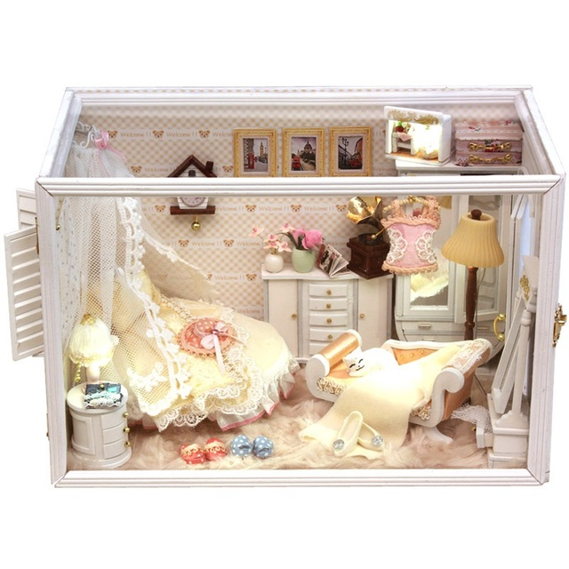 Perfect  married DIY handmade large wooden doll house miniatures for kids, wood house kits for doll, doll home set for kinds