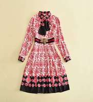 Mifairy Runway Dresses 2017 Autumn Print Sashes Turn Down Collar Long Sleeves High Quality Women S