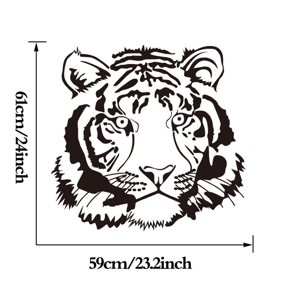 Muzzy Tiger Vinyl Muursticker Keuken Sticker Grappig Animal Decals ...