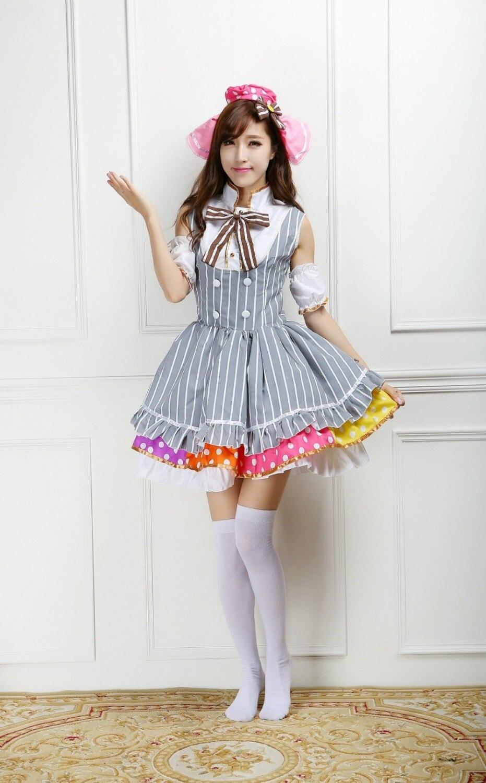 Love Live Kousaka Honoka Candy Cospplay Costumes Lovely Lolita Coffee Maidservant Dress Women Vintage School Uniform