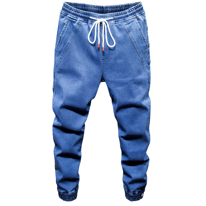 Mens solid color jeans 2019 new hot male fashion casual elastic waist belt Harlan style beam foot denim trousers plus size S-7XL