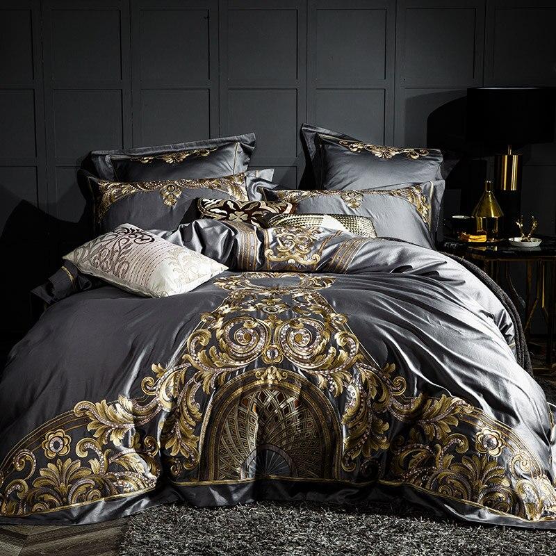 Gray Luxury 100S/1000TC Egyptian Cotton Gold Royal Embroidery European Palace Bedding Set Duvet Cover Bed Sheet/Linen Pillowcase