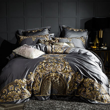 Gray Luxury 100S/1000TC Egyptian Cotton Gold Royal Embroidery European Palace Bedding Set Duvet Cover Bed sheet/Linen Pillowcase