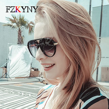 FZKYNY Ladies Fashion Pilot Sunglasses Luxury Brand Designer Women Vintage Skull Frame Metal Temple Gold Glasses UV400 Eyewear