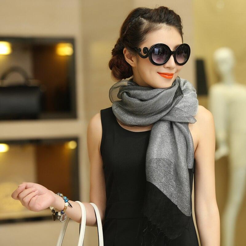 Nueva elegante bufanda de seda de organza mantón de moda 100% seda - Accesorios para la ropa - foto 4