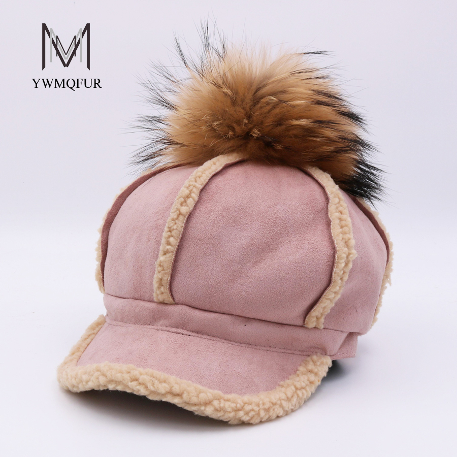 YWMQFUR 2017 New Autumn Winter Real Raccoon Fur Pom Pom Baseball Cap Women Fashion Faux Leather Snapback Hat With Fur Ball H128 women beanies raccoon fur pom poms hat beanie knitted skullies fashion caps ladies knit cap winter hats for women