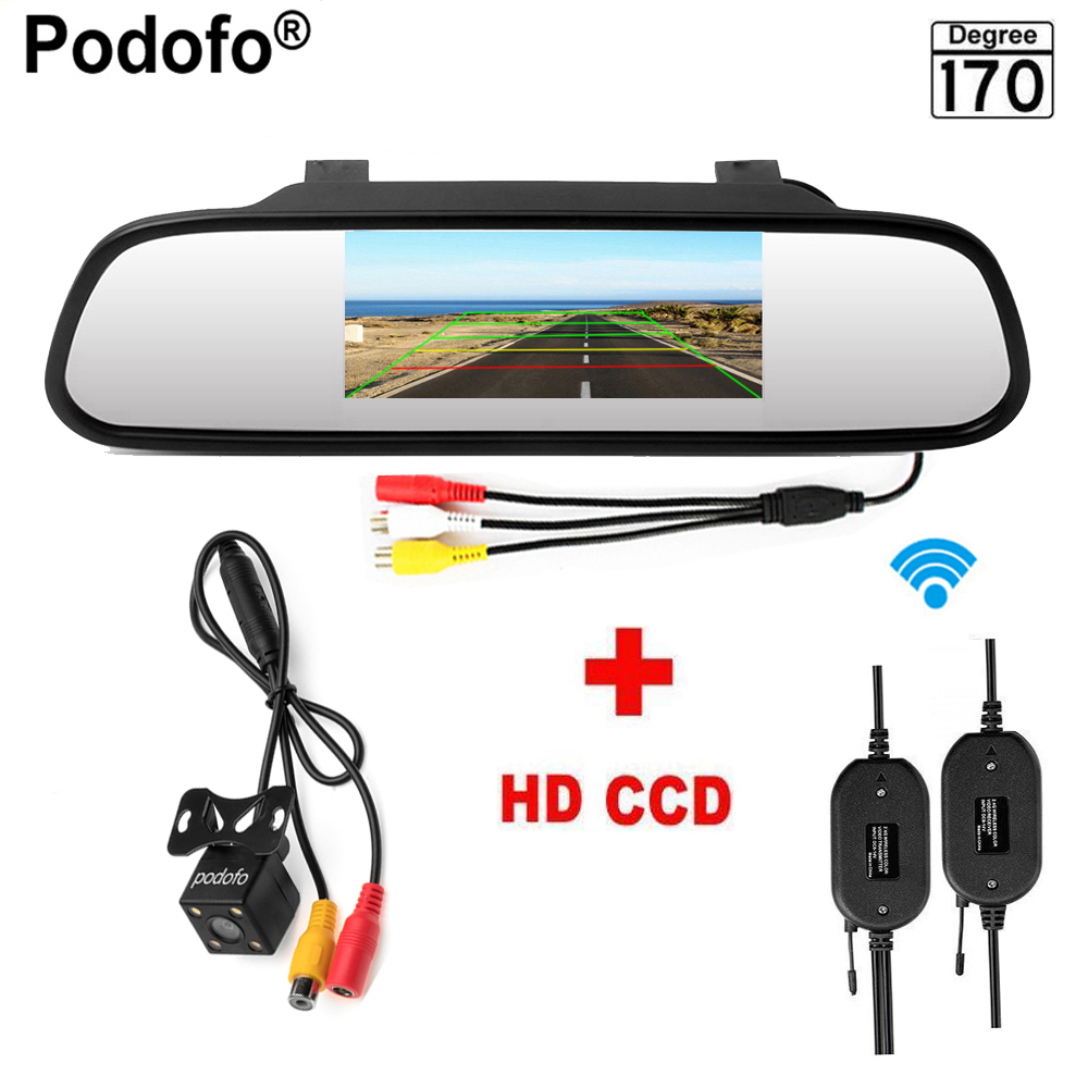 Podofo 4.3 Wireless Car Rearview Mirror Monitor Rear View Camera Video Auto Parking Systerm Night Vision Reversing Car-styling