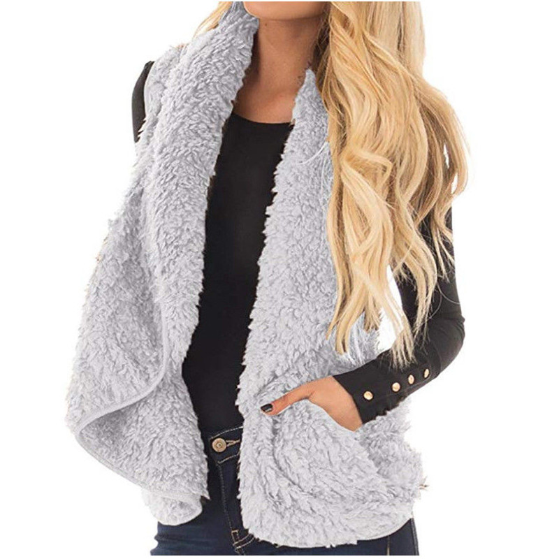 Trendy Women clothes Winter Warm zipper Polyester Vests Pockets casual turn-down collar Waistcoat one pieces