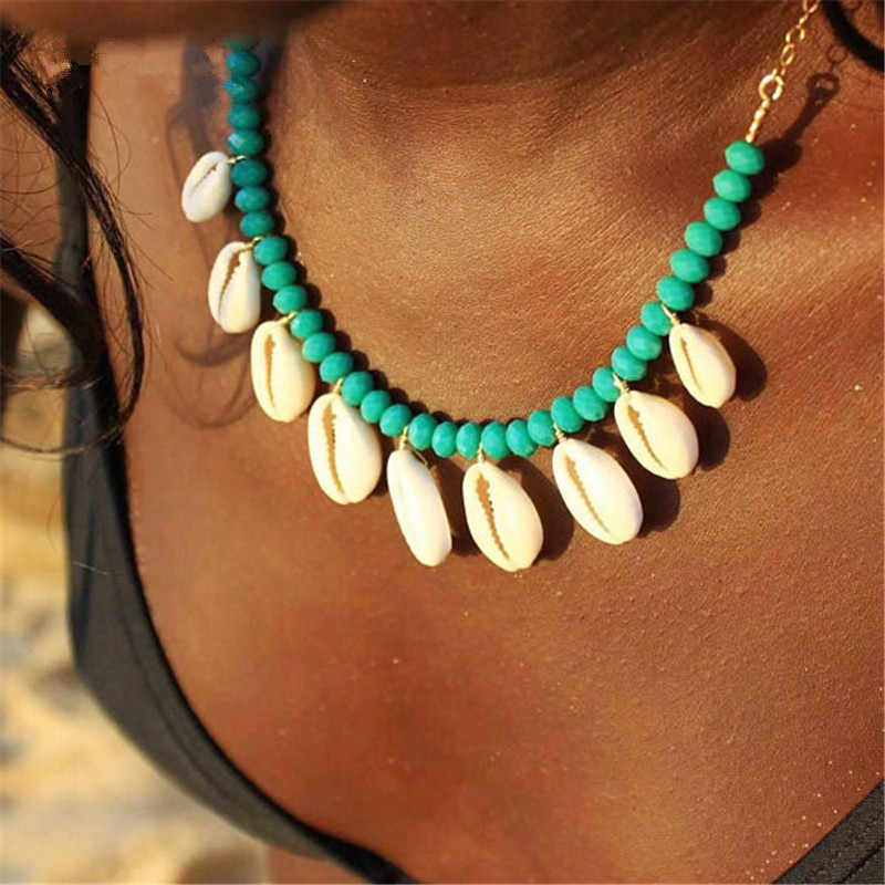 Boho Seashell Choker Necklace for Women Shell Collar Conchas Green Red Blue Stone Beads Gold Chain Crystal Necklace 2019 Jewelry