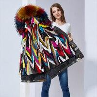 Цвет меха с капюшоном парки женские выстроились красочные норки воротника женщин натуральный мех норки пальто
