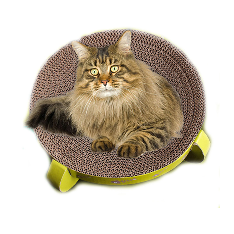Pet Cat Toys Round Turbo Scratcher Board Corrugated Paper Pet Toy Strong Cat Scratch  Amusement Plate Sleeping Nest Pt0138