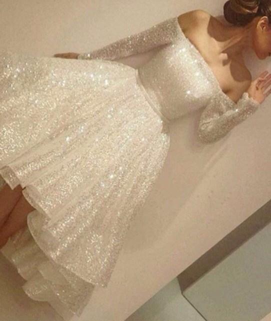 Womens Elegant White Dress Fashion Sweet Long Sleeve Solid Dress Lady Glitter Sparkle Dress Vestido