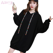 APOENGE Autumn and Winter Dress 2017 New Women Hoodies Dresses Causal Loose Sweatershirt Dresses Female Long Vestidos LZ568
